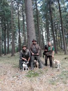 Výcvikový den se staffordšírským bullteriérem Alfem, bordíkem Angge, s jezevčíkem Zakem (Brunem) a beaglem Kendallem.