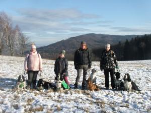 30.12. bylo trošku sněhu. Šli s námi Kara, Nero, Mendy, jezevčice Ája, pointra Wiskey, Skuti a Kerd.